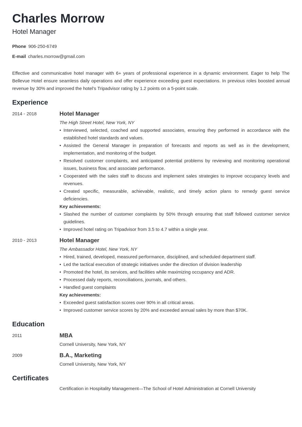 hotel manager resume example template minimo
