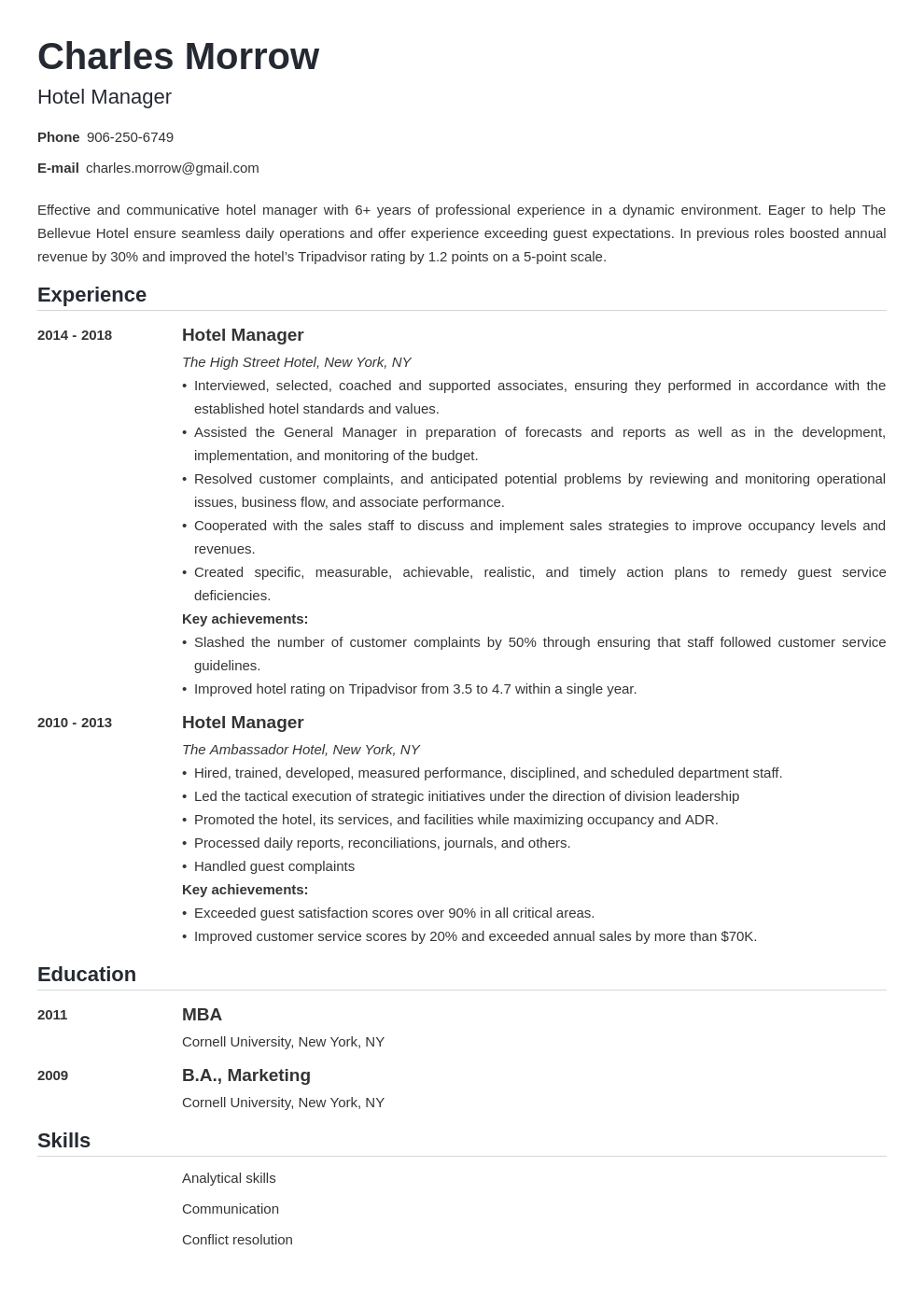 hotel manager resume example template nanica