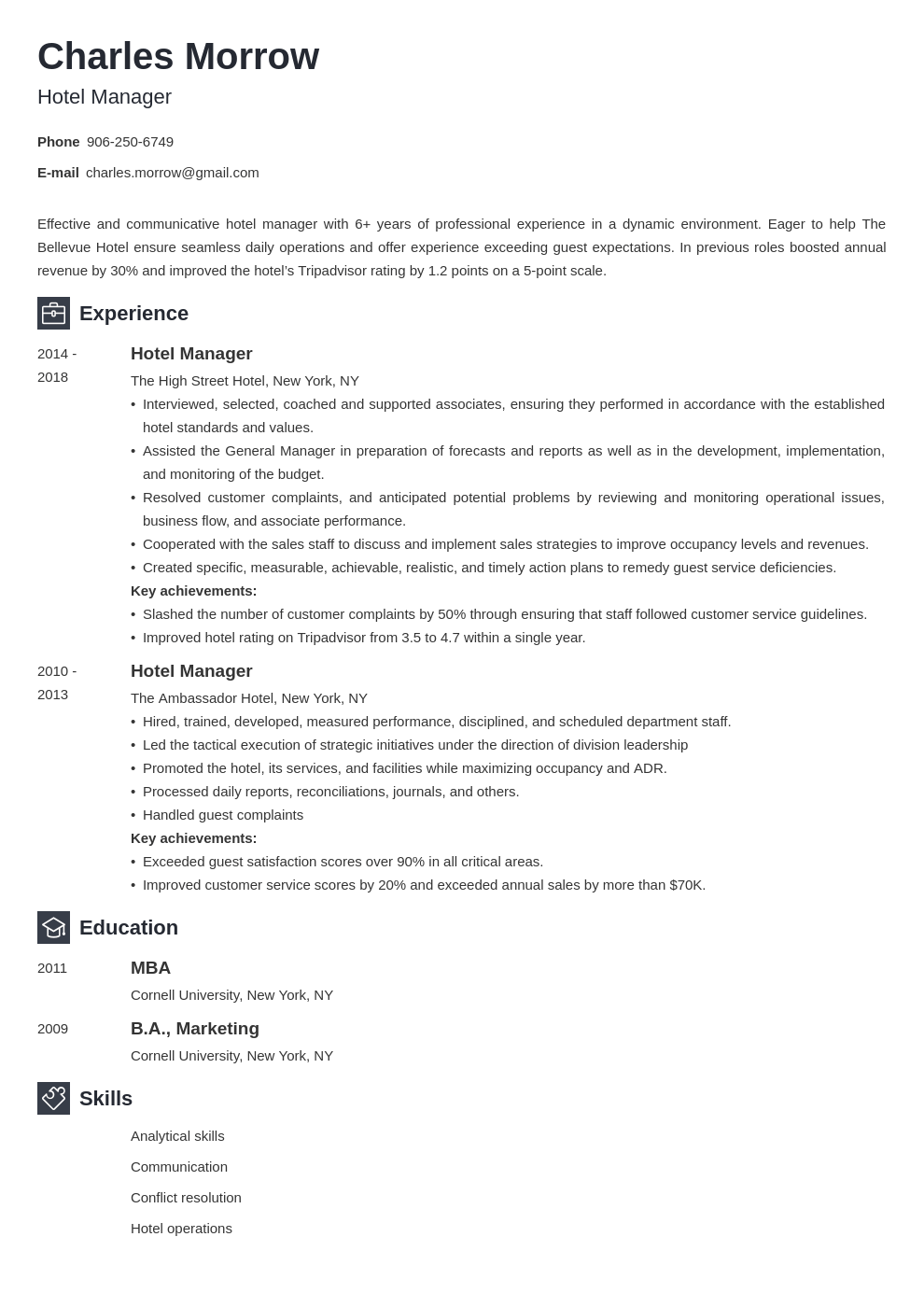 hotel manager resume example template newcast