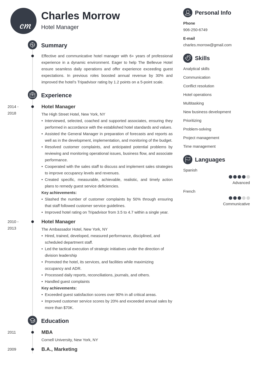 hotel manager resume example template primo