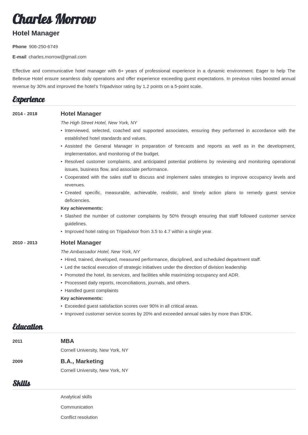 hotel manager resume example template valera