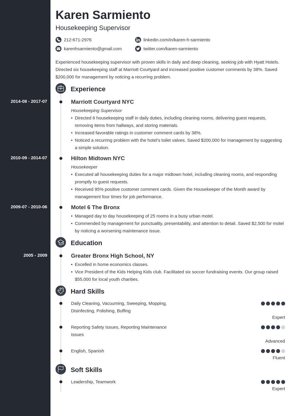 housekeeping resume example template concept