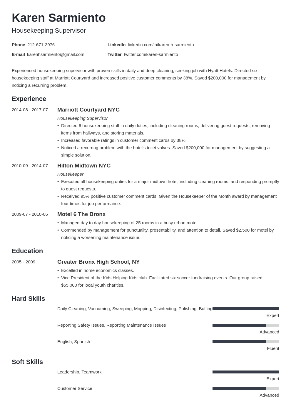 Housekeeping Resume Samples Skills For All Housekeepers