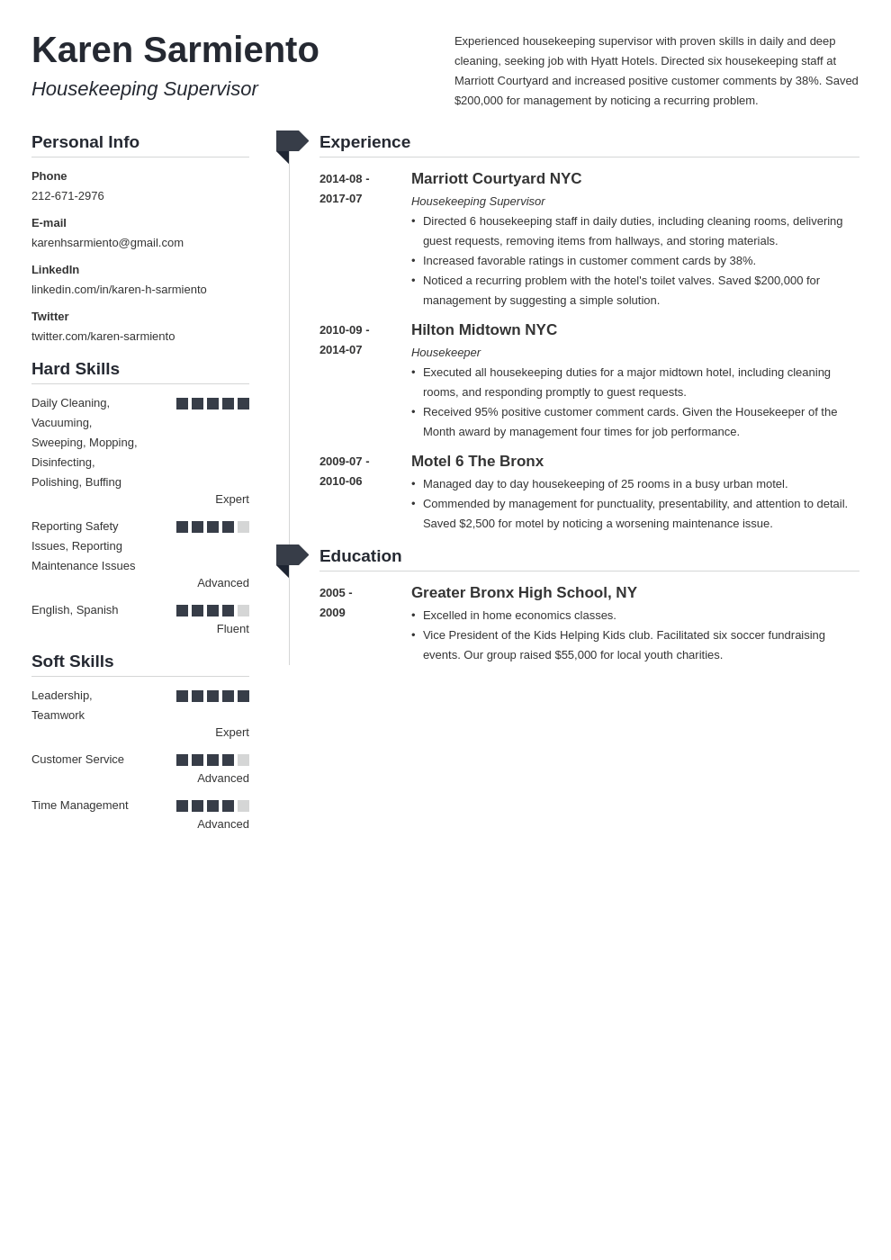 housekeeping resume example template muse