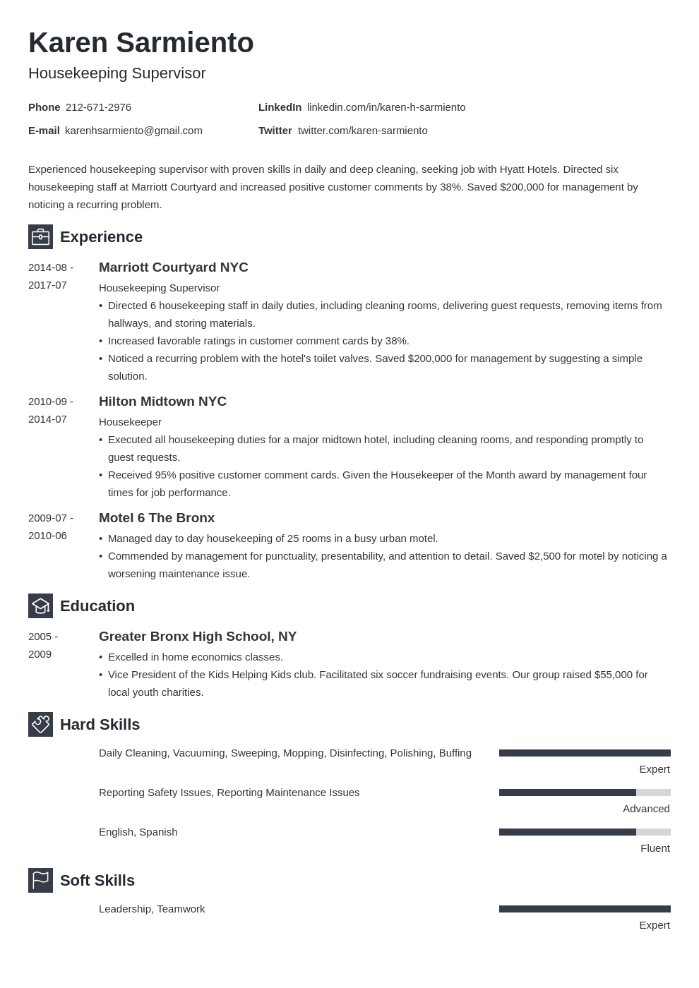 housekeeping resume example template newcast