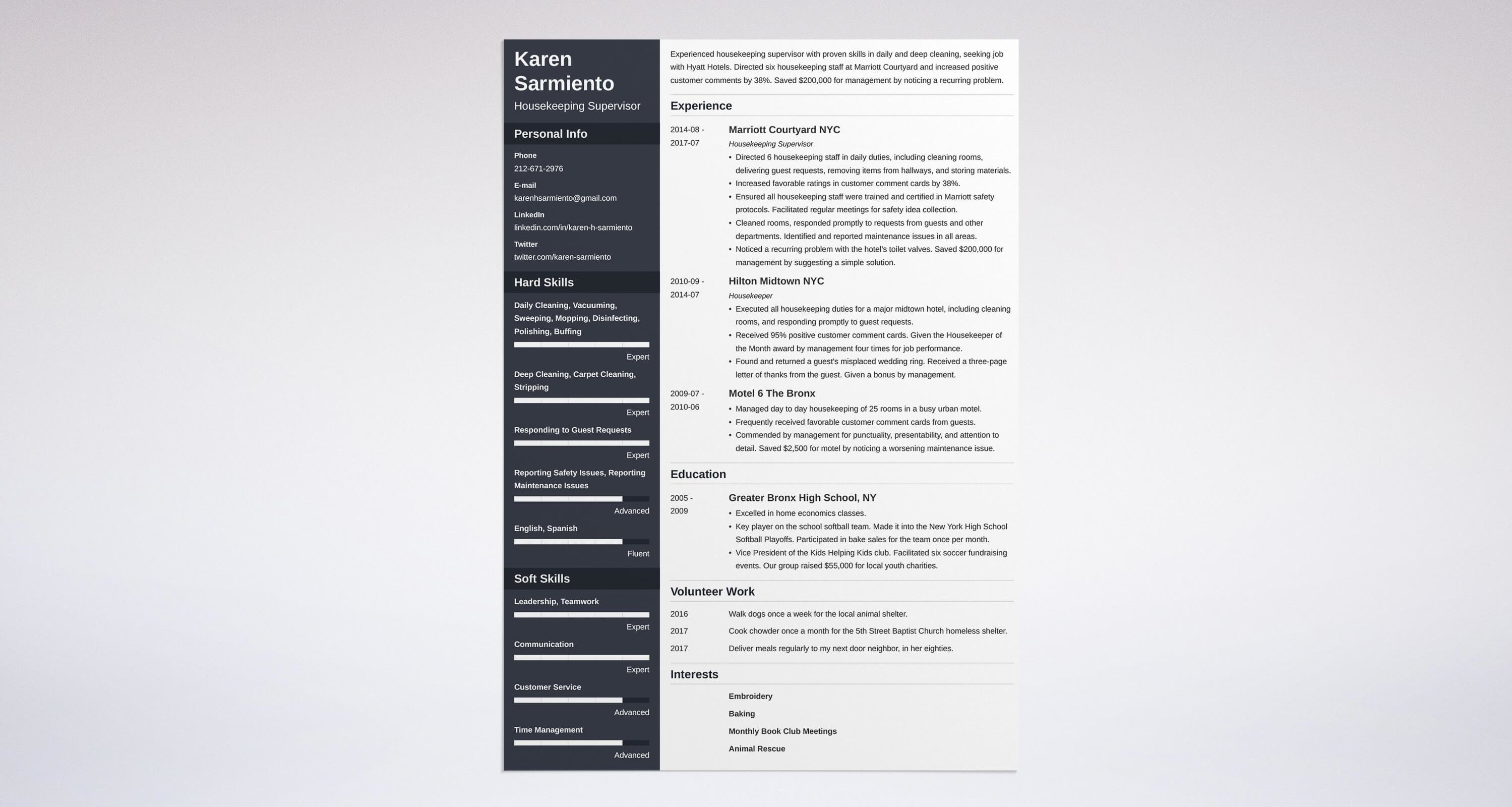 whats the best format for a housekeeping resume. Resume Example. Resume CV Cover Letter