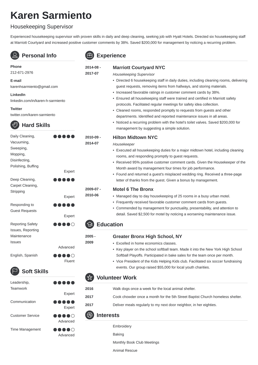 resume format for housekeeping