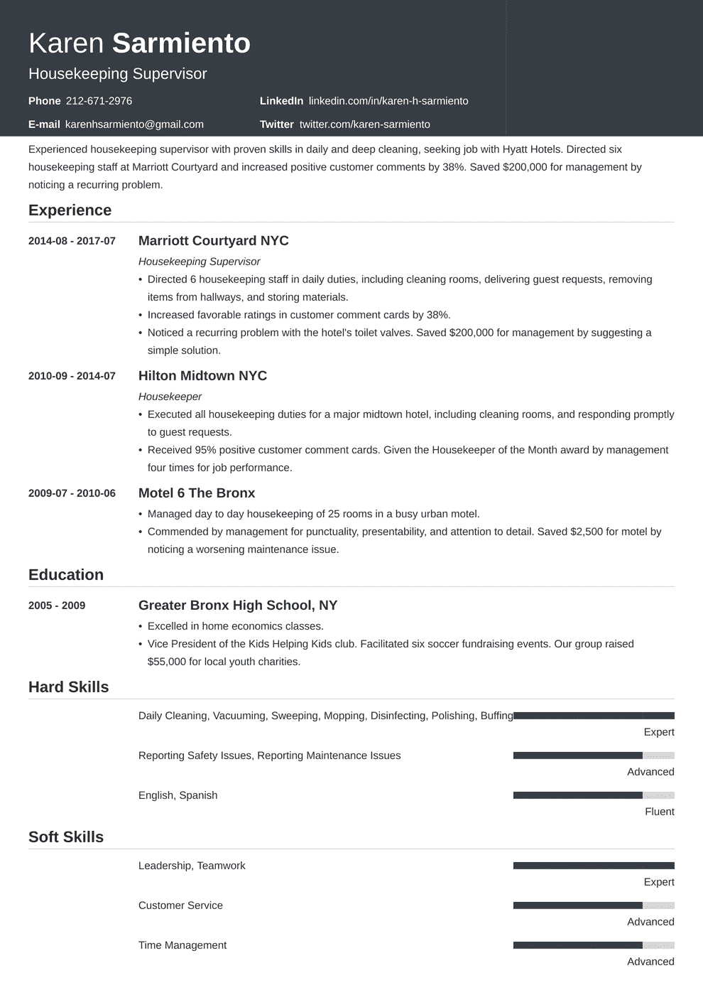 Housekeeping Resume Skills.Housekeeping Resume Sample Complete Guide 20 Examples