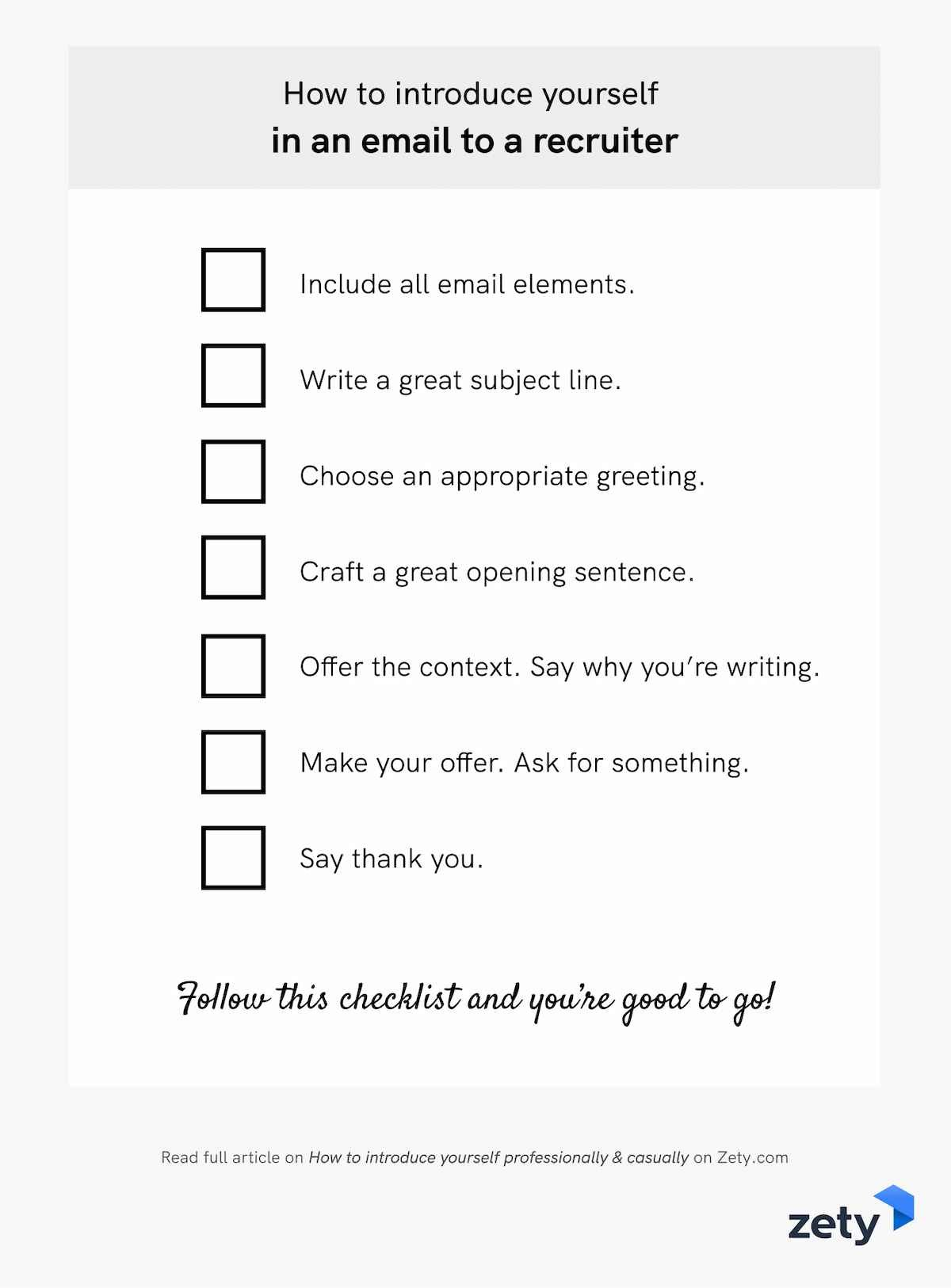 How to introduce yourself in an email to a recruiter - Checklist