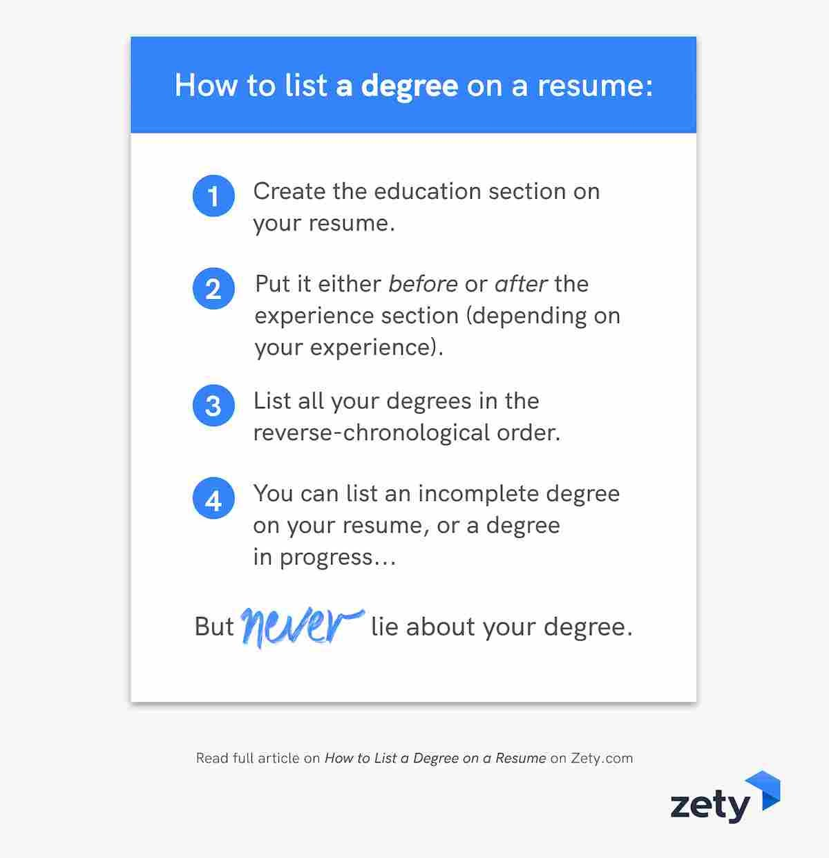 How to list a degree on a resume: summary