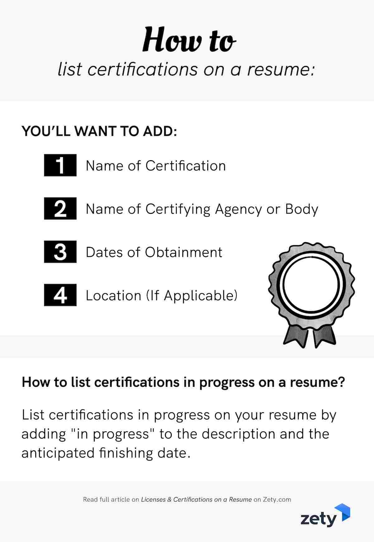 Licenses and certifications on a resume example