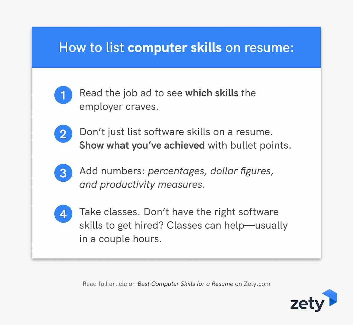 How to list computer skills on resume