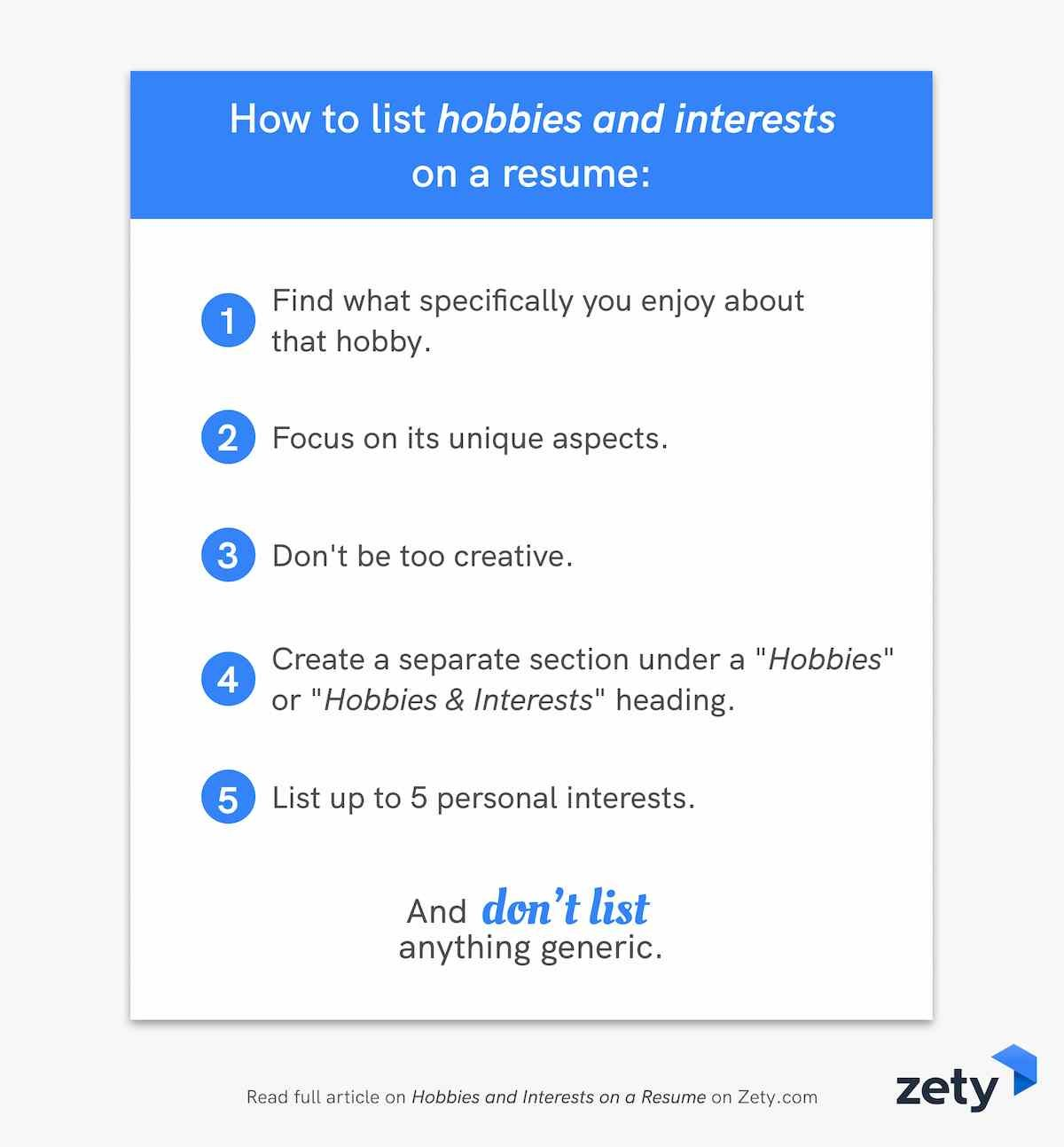 How to list hobbies and interests on a resume
