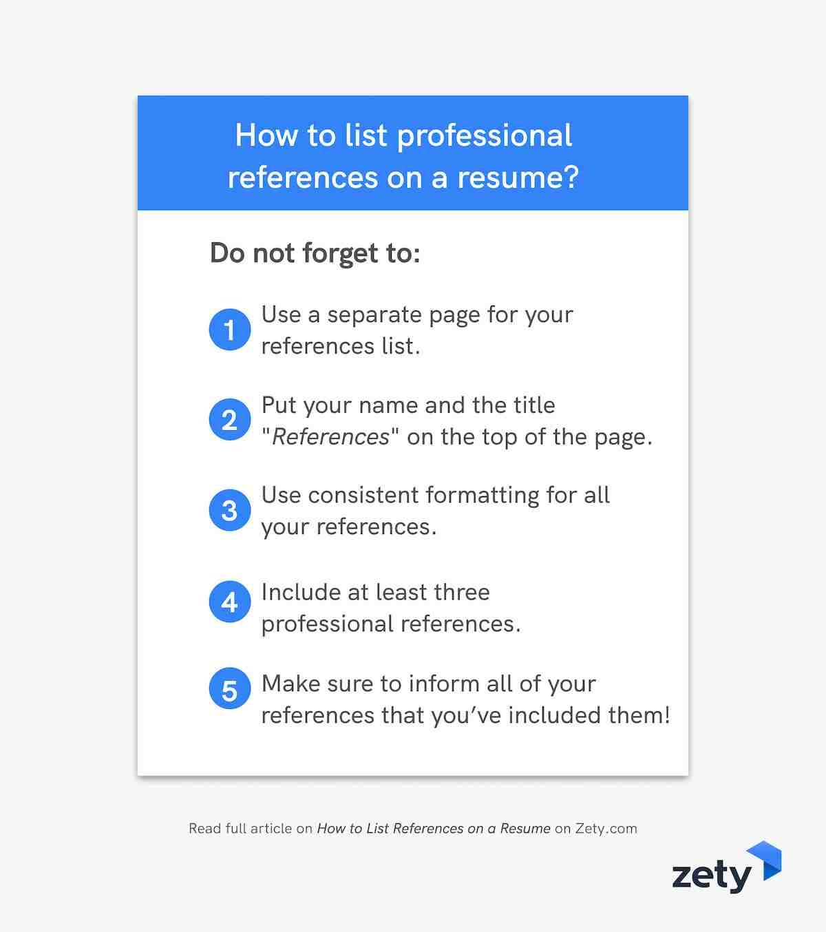 How to list professional references on a resume