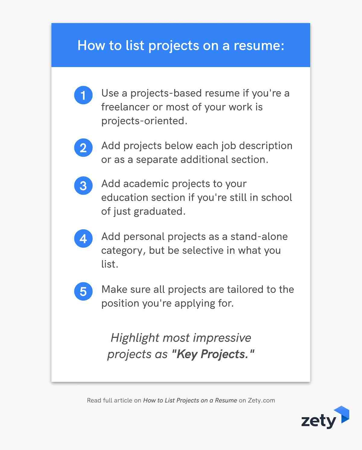 How to list projects on a resume