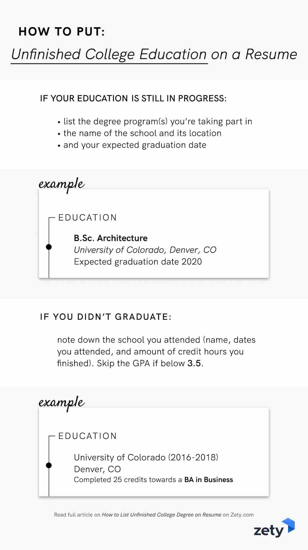 How to list unfinished college degree on resume
