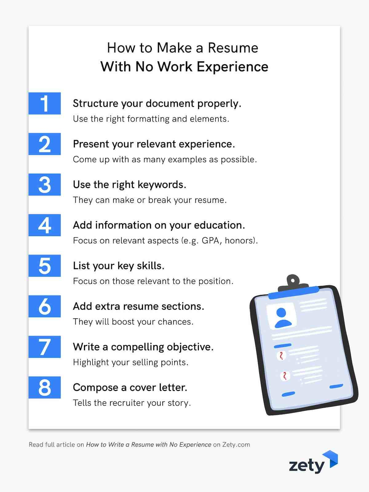 How to Make a Resume With No Work Experience in 8 steps