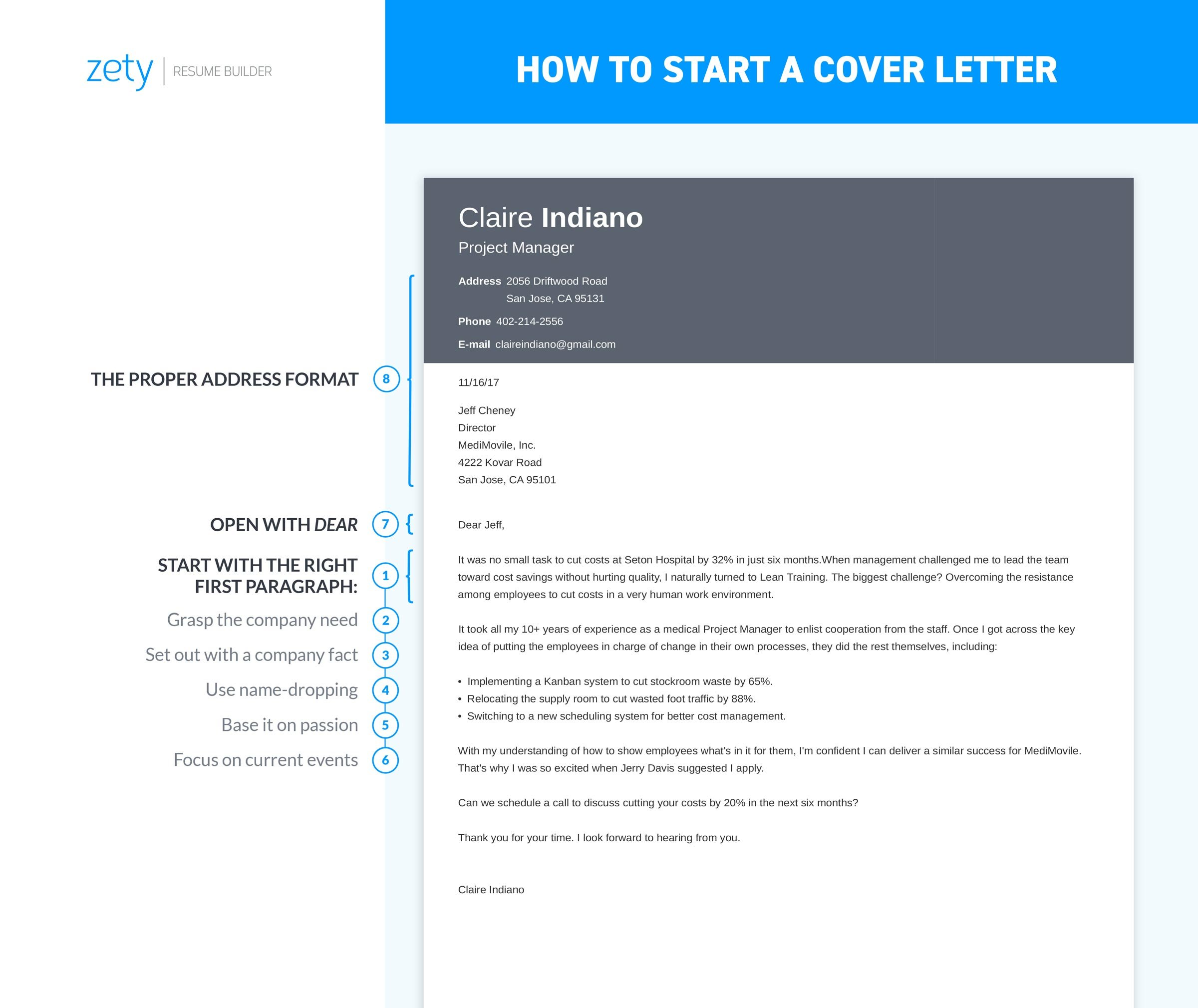 How to start a cover letter sample complete guide 20 for Proper way to start a cover letter