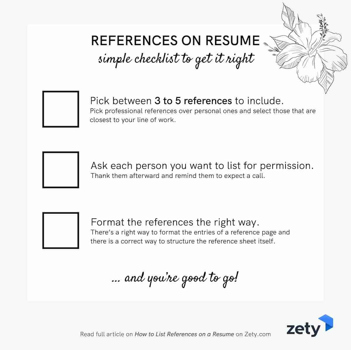 References on resume: checklist