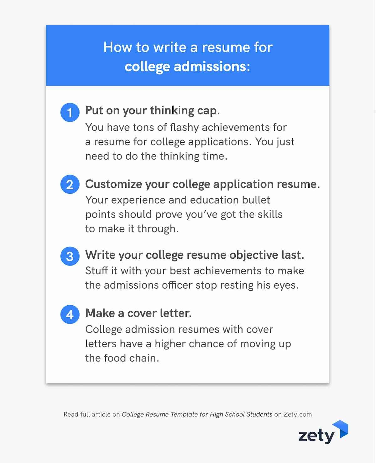 How to write a resume for college admissions