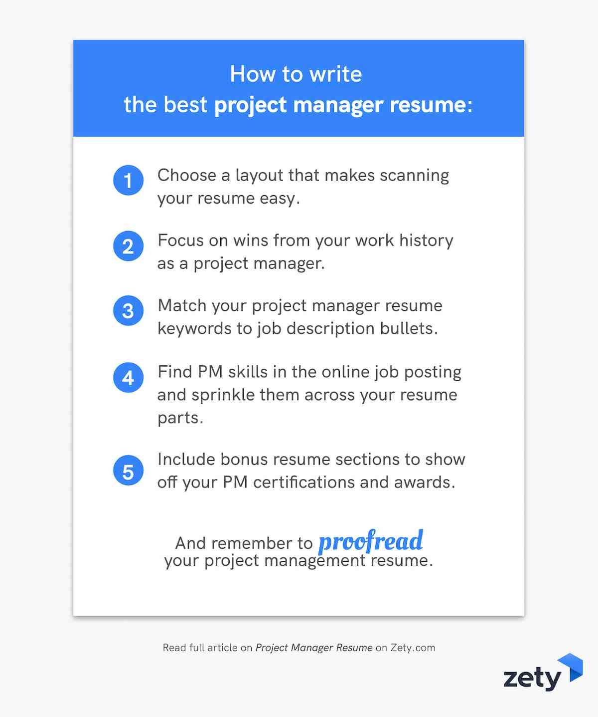 How to write the best project manager resume