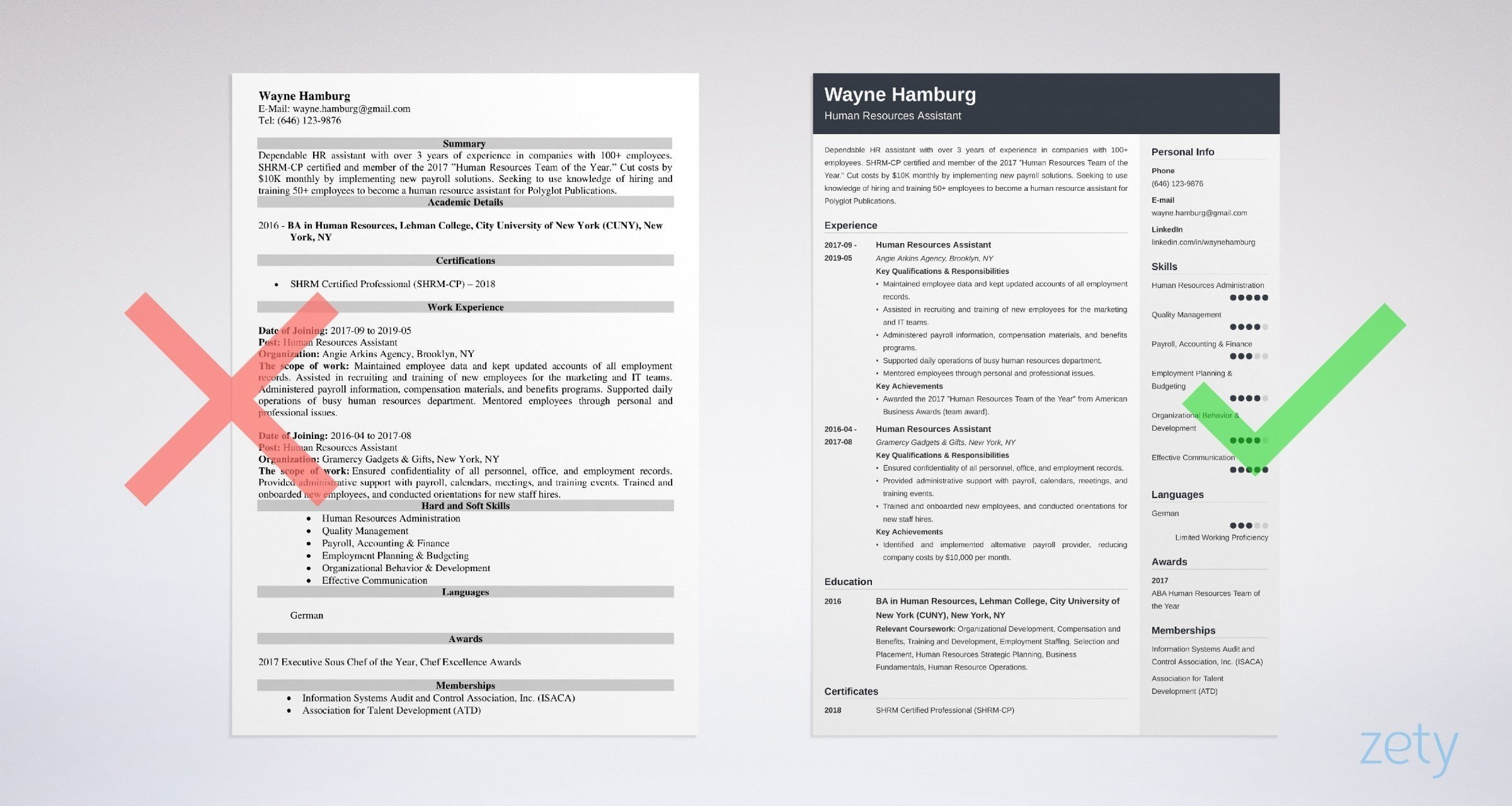 hr assistant resume templates