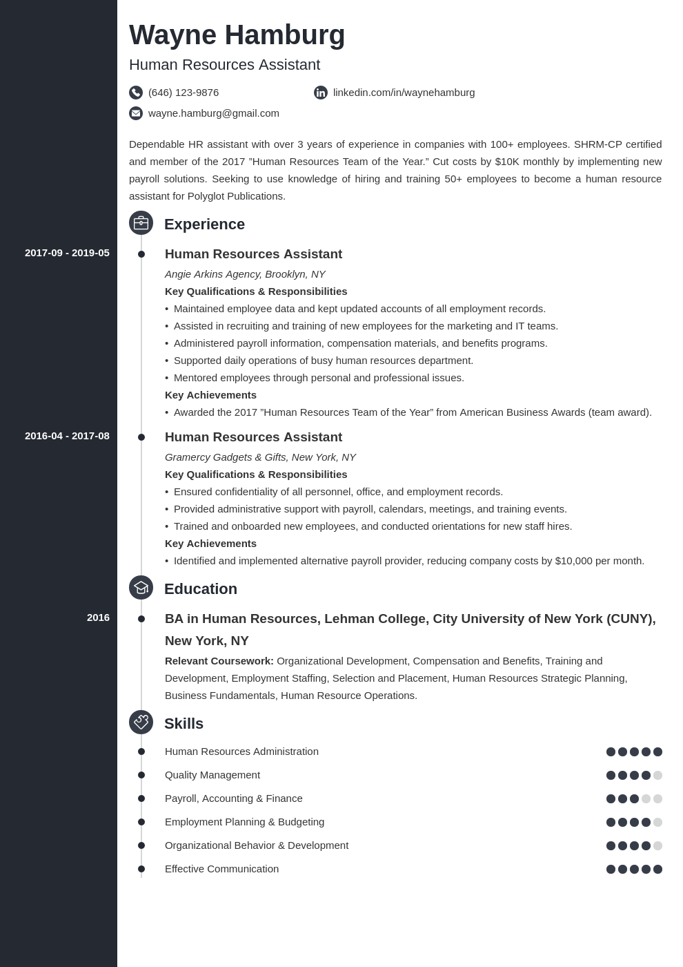 hr assistant resume example template concept