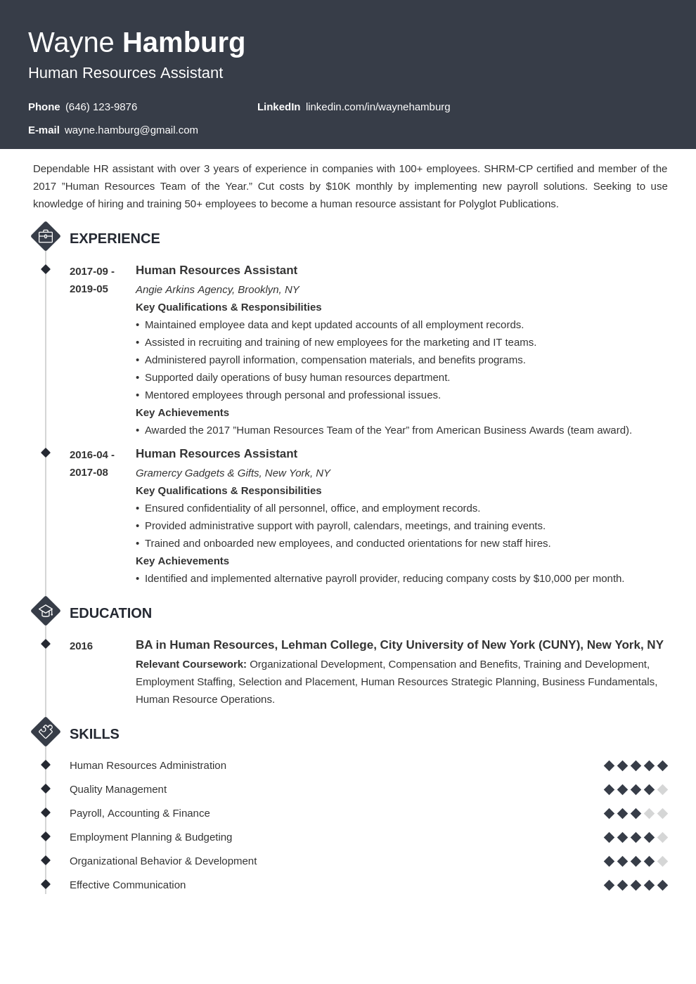 hr assistant resume example template diamond