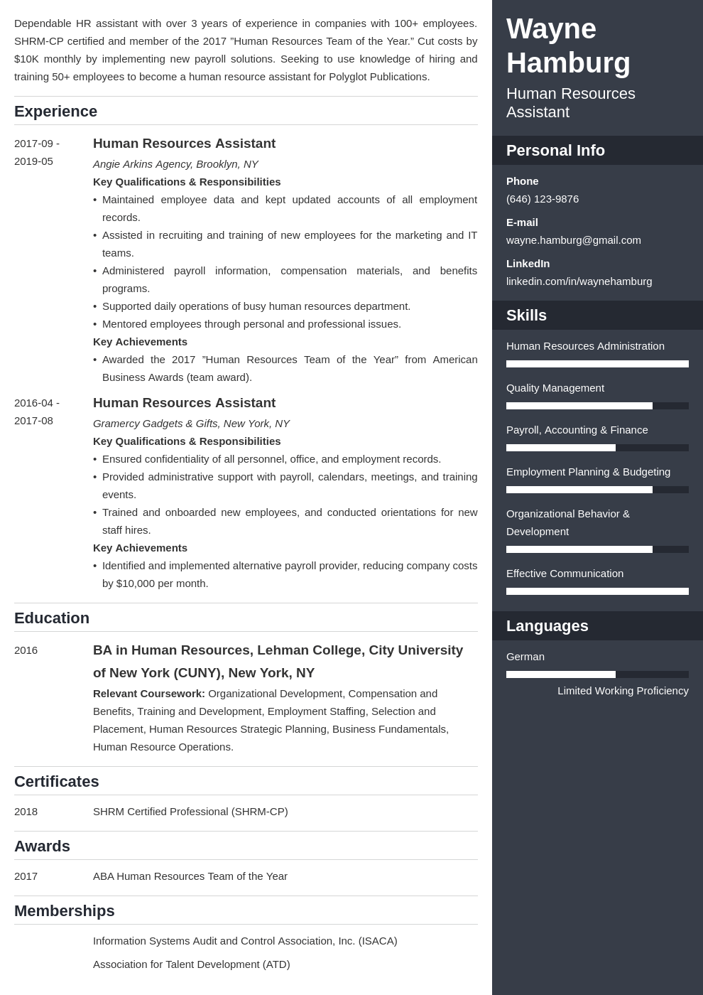 hr assistant resume example template enfold
