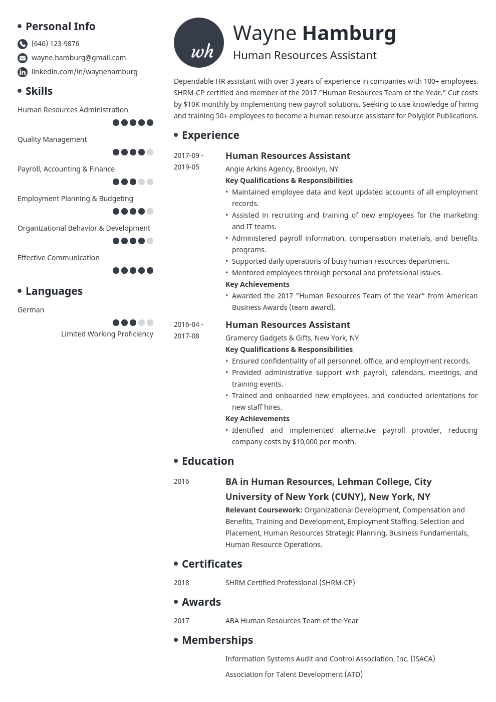 hr assistant resume example template initials