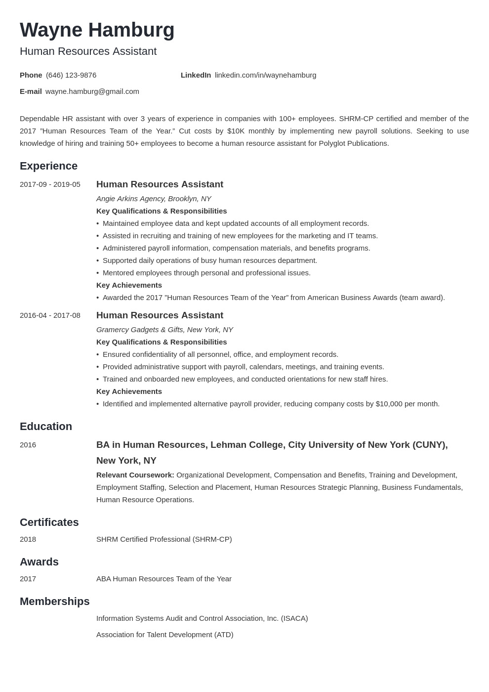 hr assistant resume example template minimo