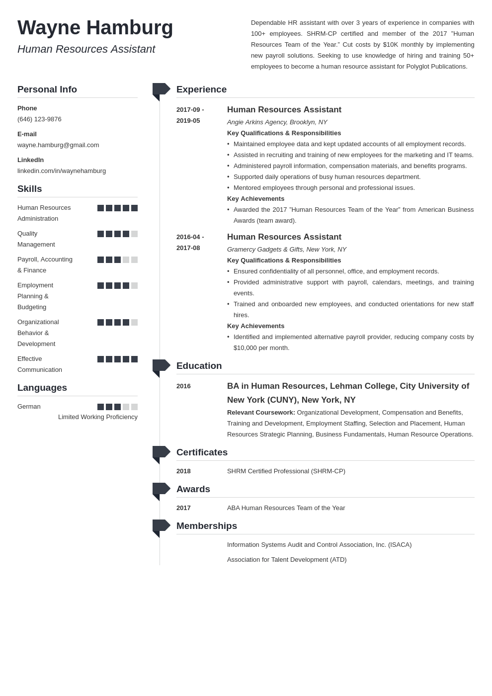 hr assistant resume example template muse
