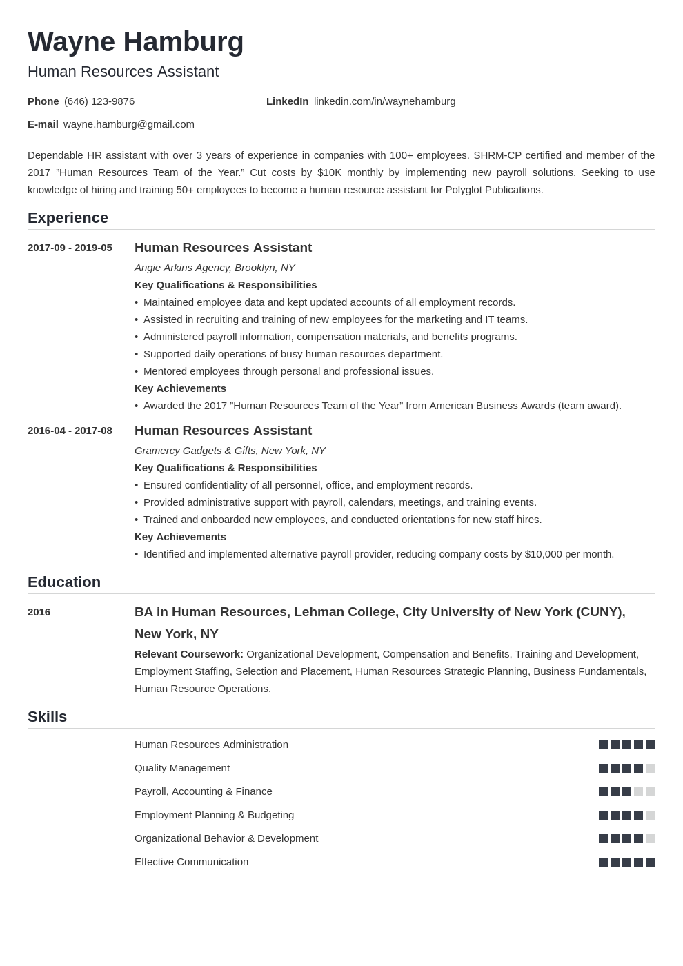 hr assistant resume example template nanica