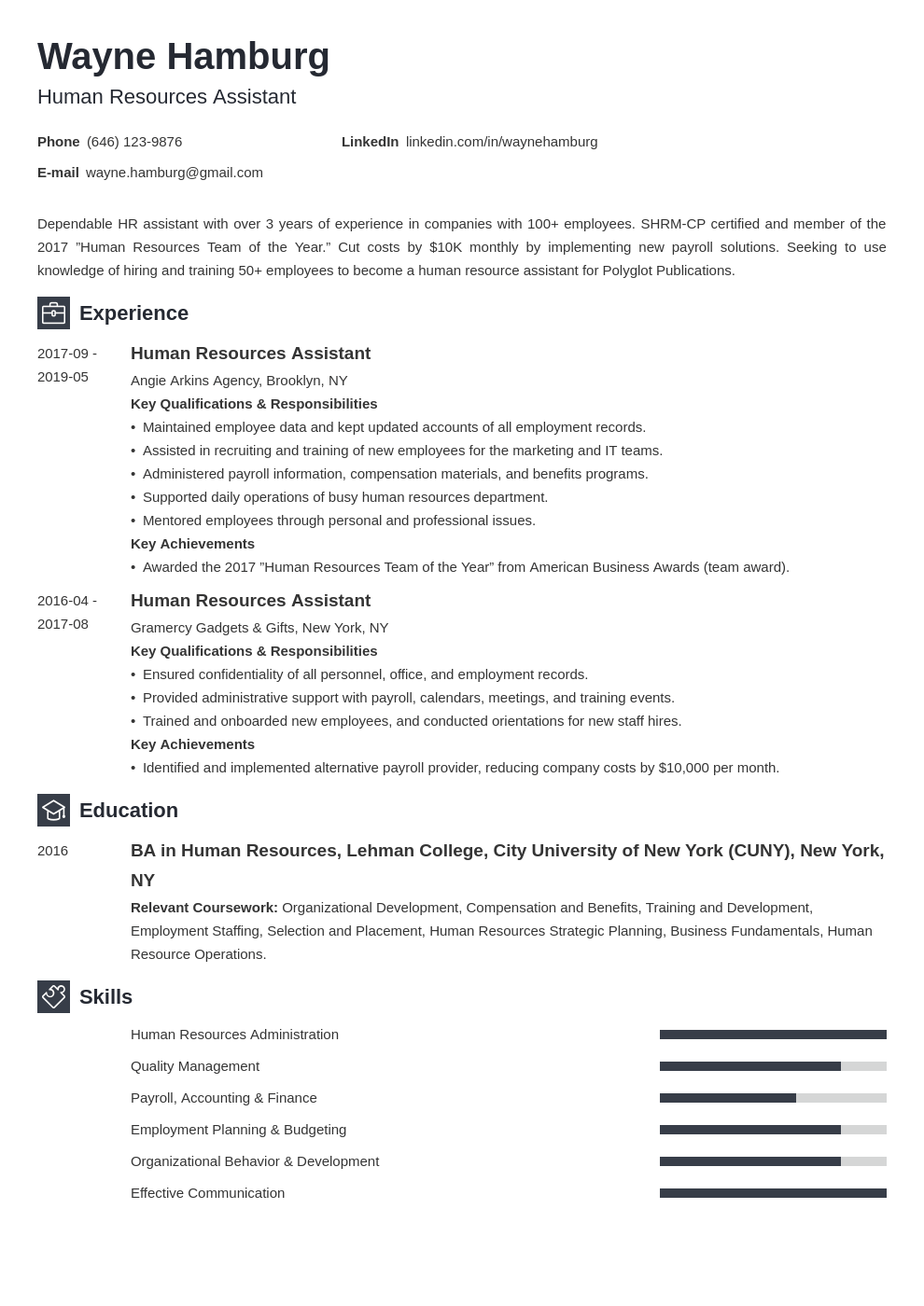 hr assistant resume example template newcast