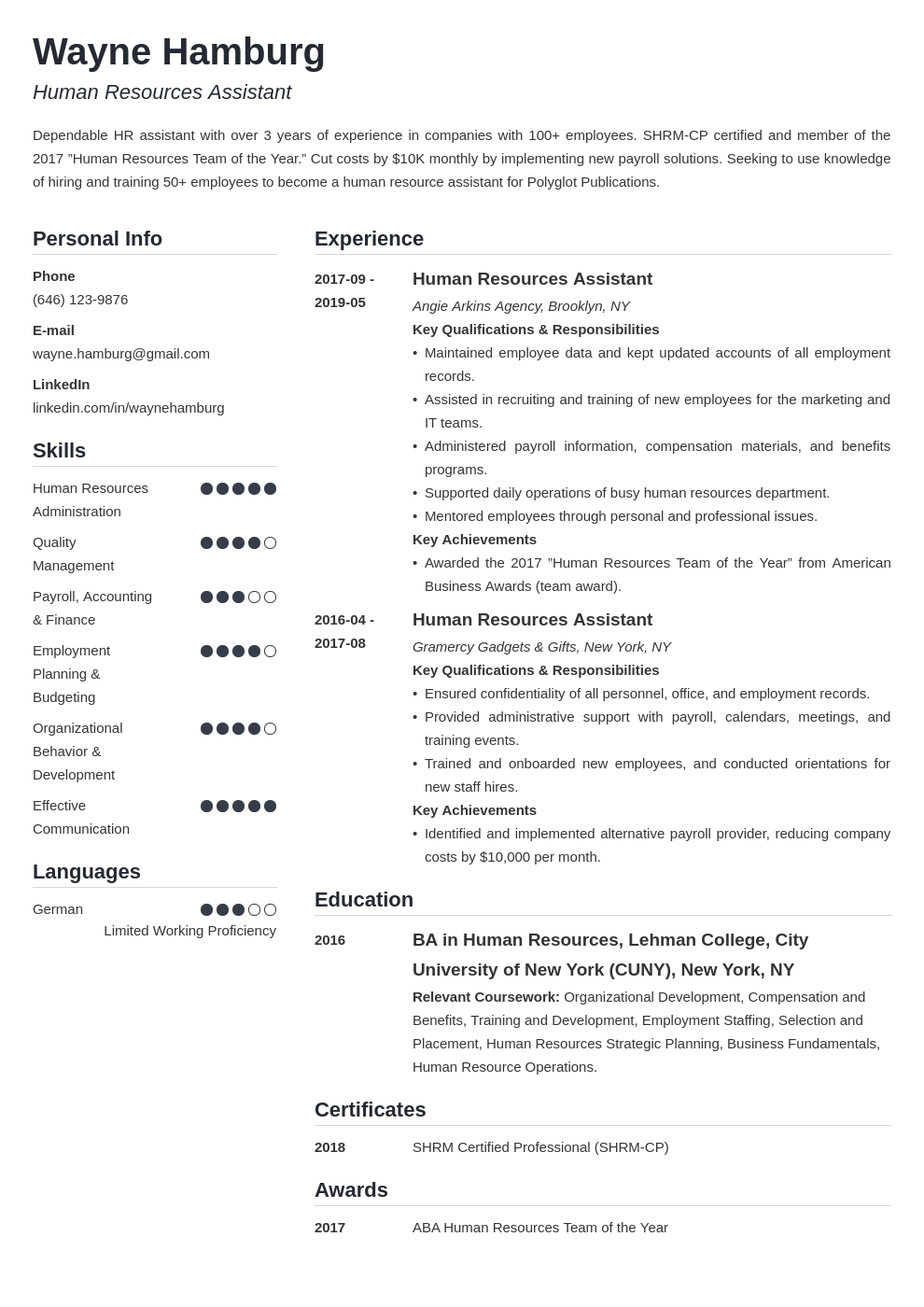 hr assistant resume example template simple