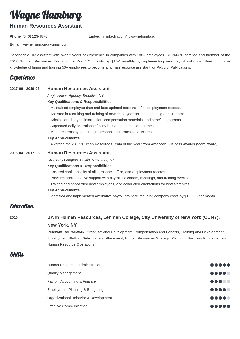 hr assistant resume example template valera