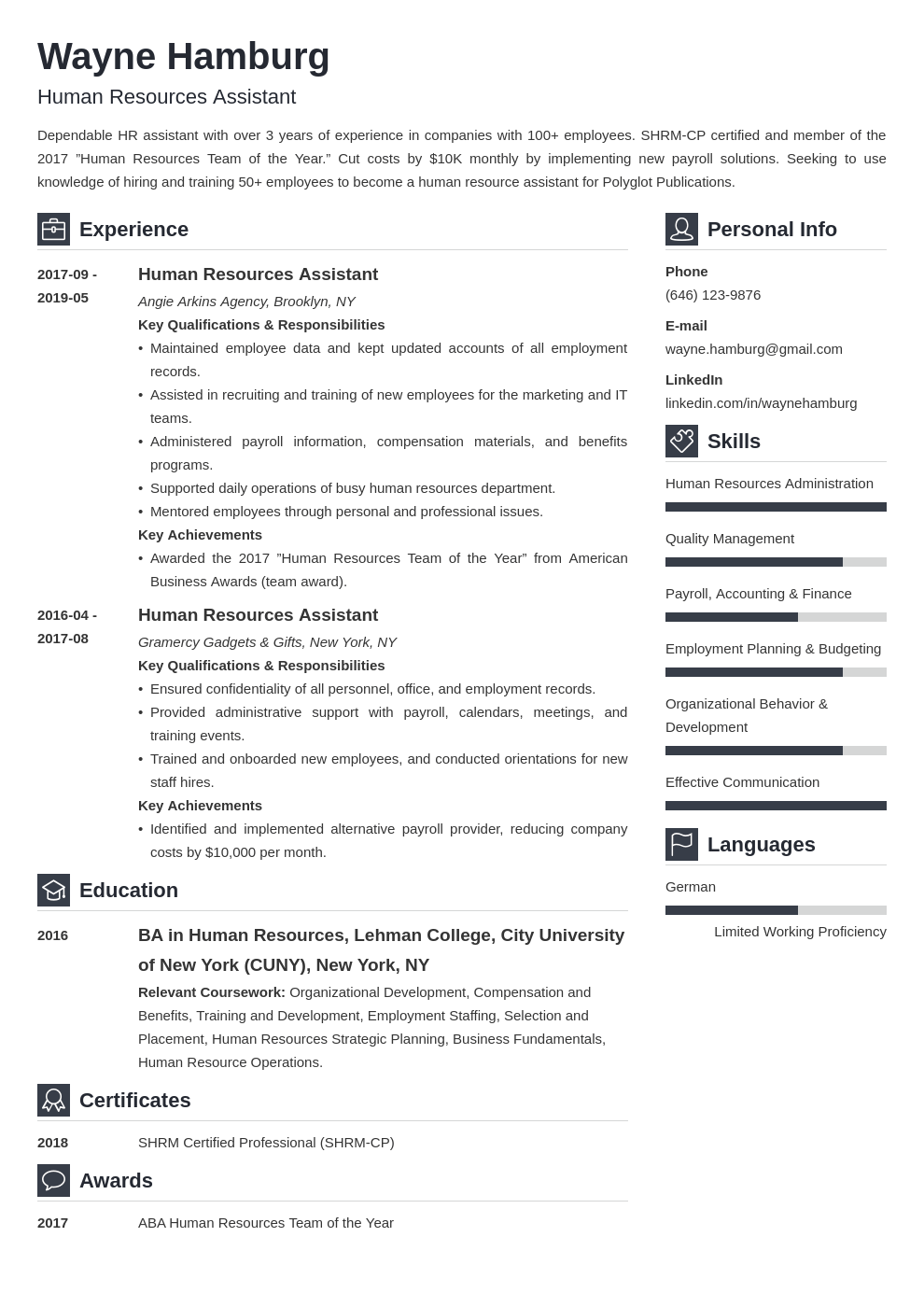 hr assistant resume example template vibes
