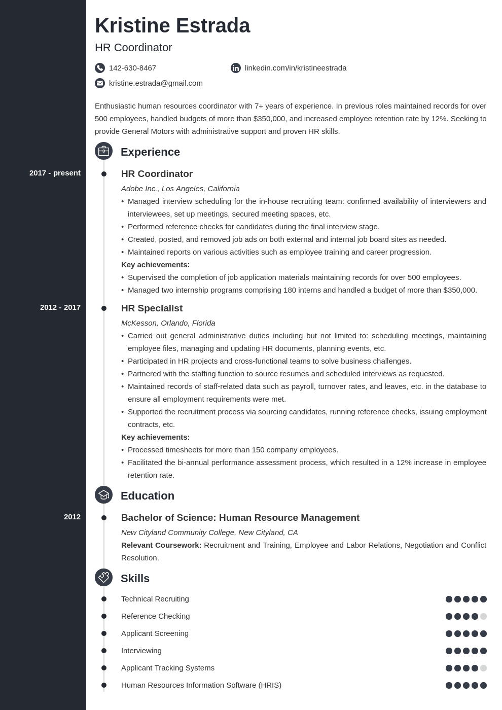hr coordinator resume example template concept