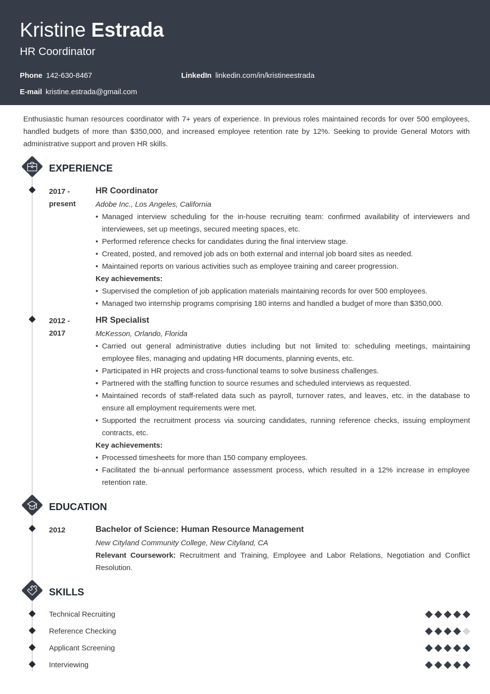 hr coordinator resume example template diamond
