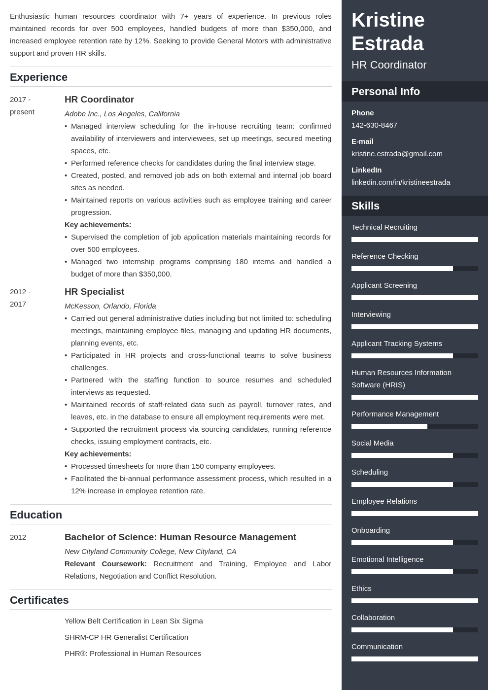 hr coordinator resume example template enfold