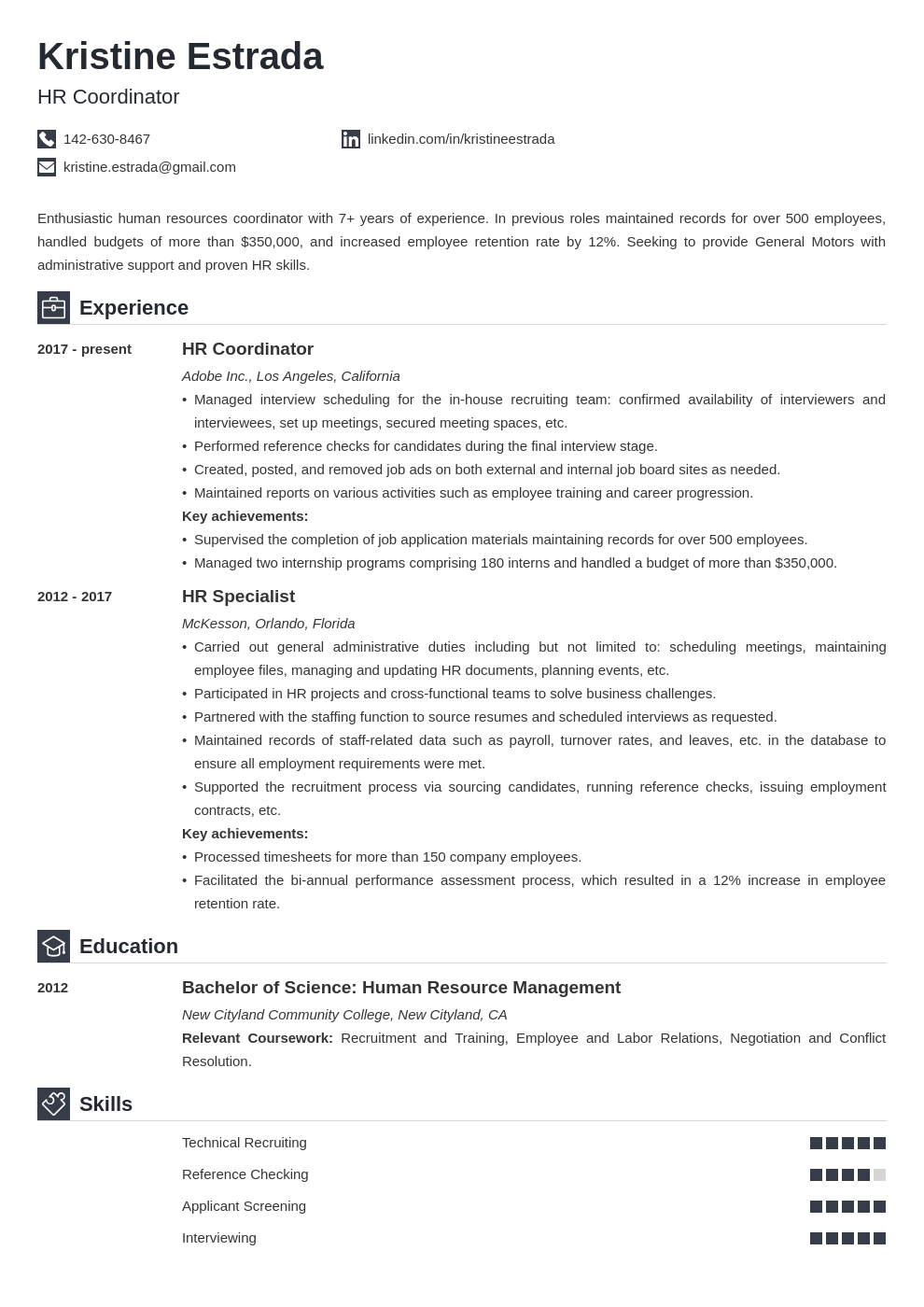 hr coordinator resume example template iconic