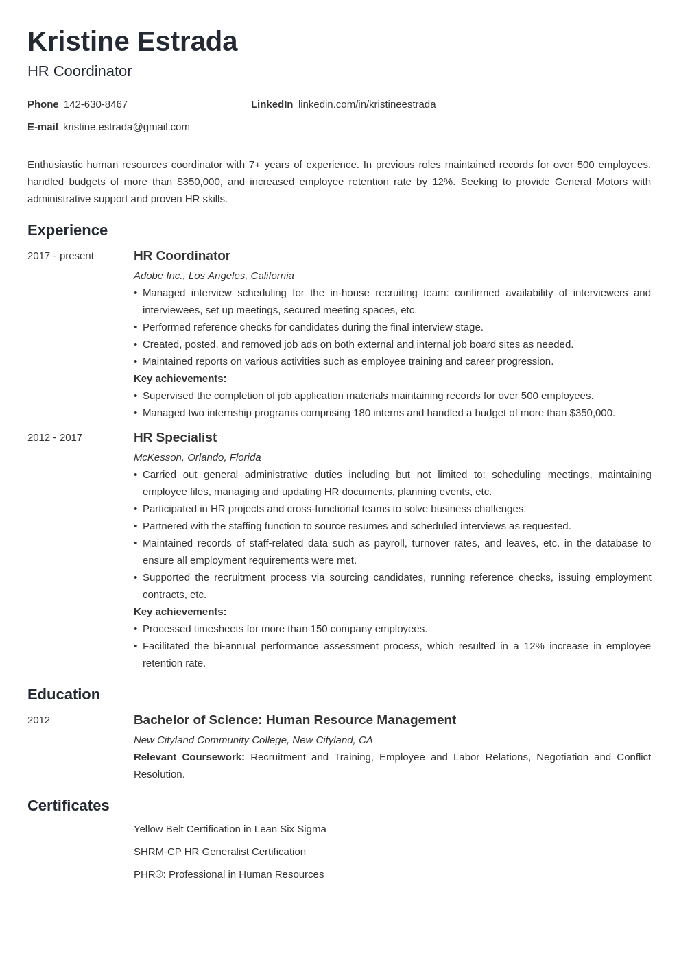 hr coordinator resume example template minimo