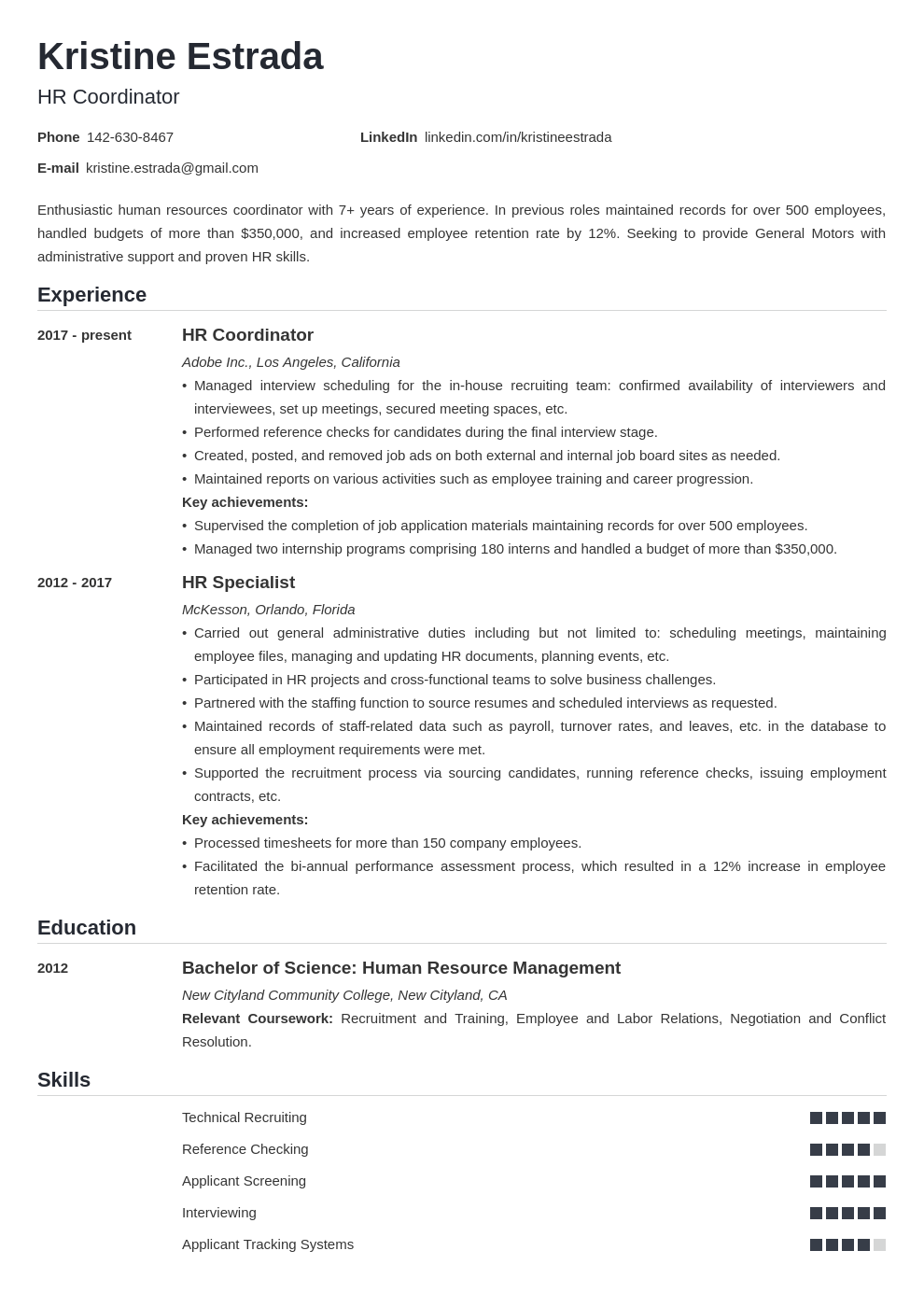 hr coordinator resume example template nanica