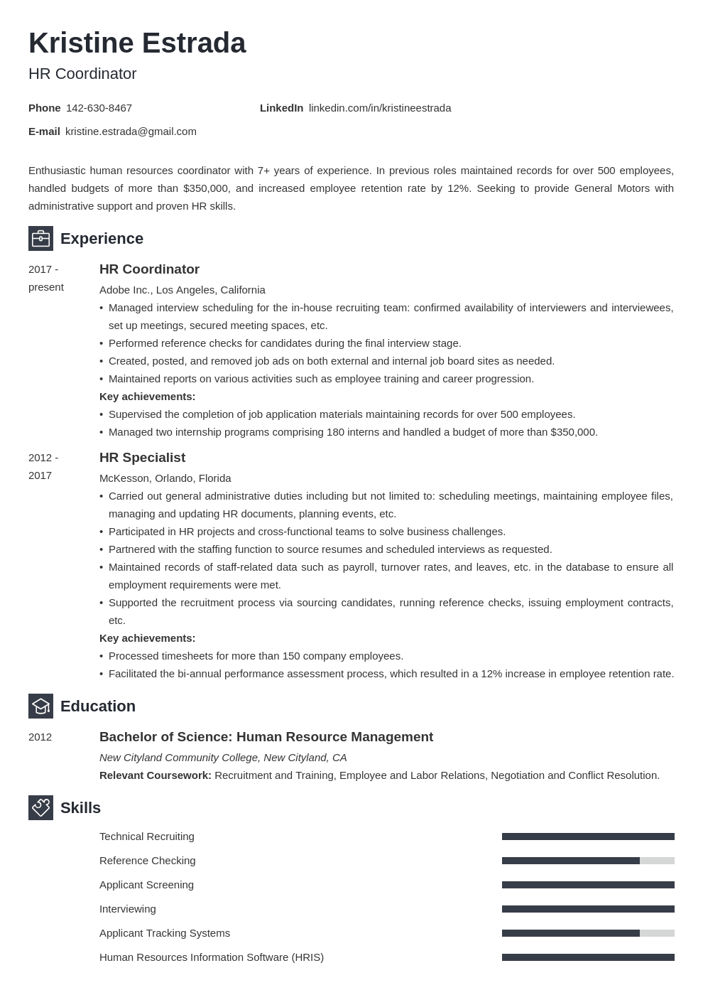 hr coordinator resume example template newcast