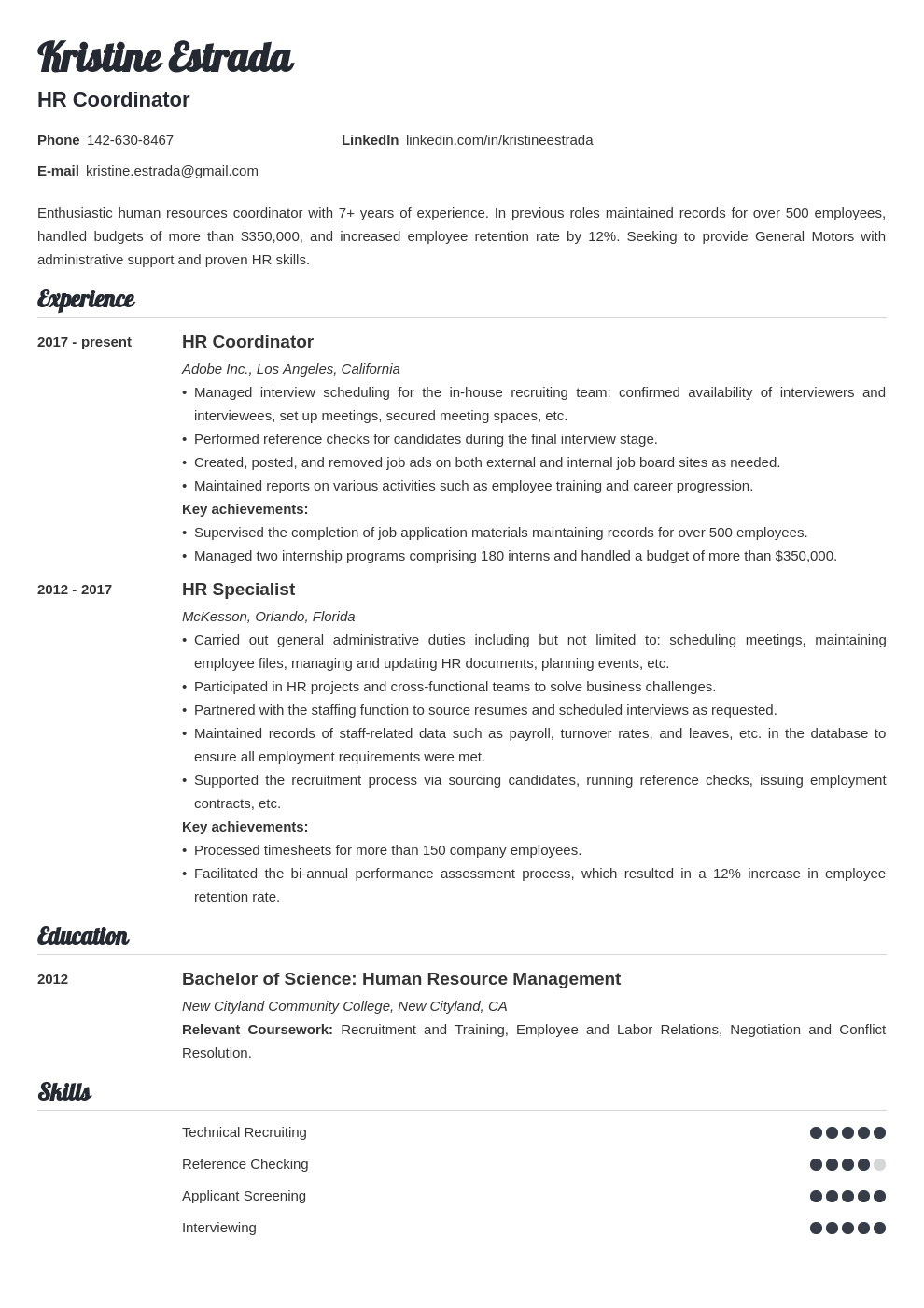hr coordinator resume example template valera
