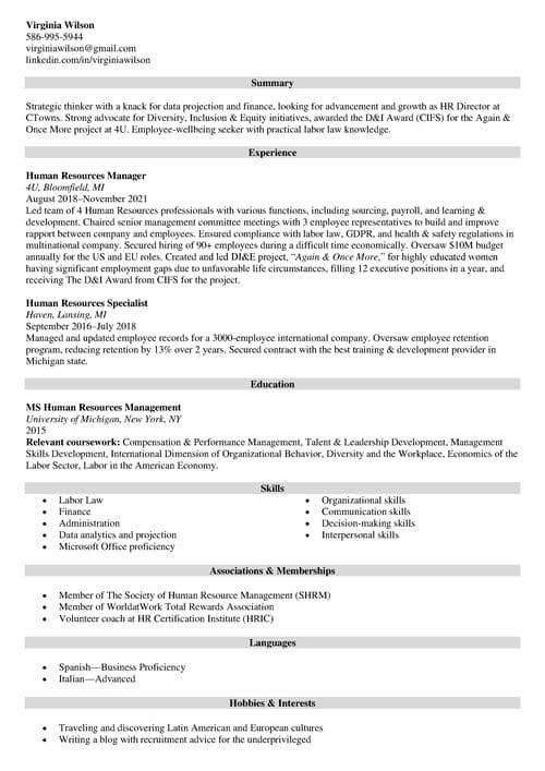 hr director resume example