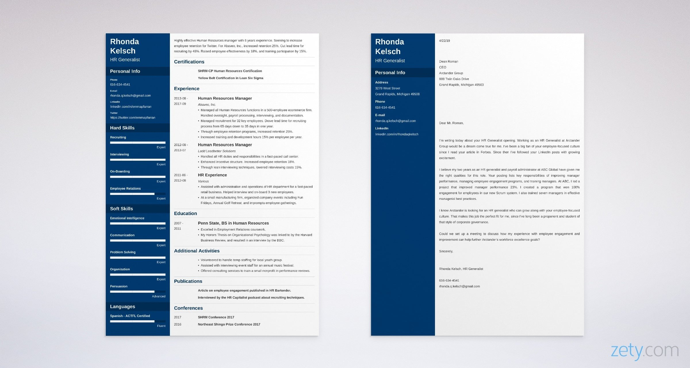 hr generalist resume and cover letter set
