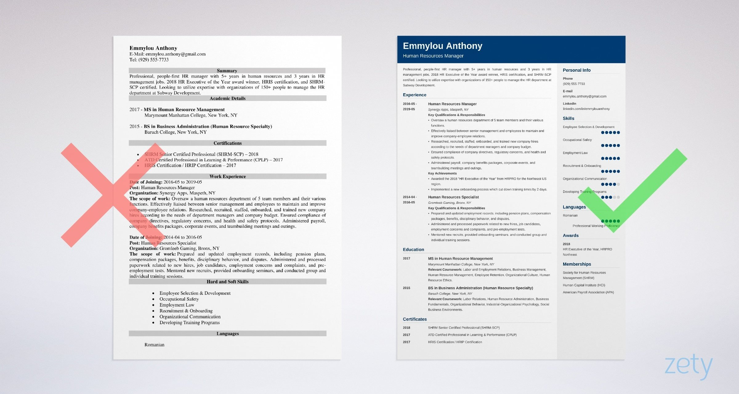 hr manager resume templates