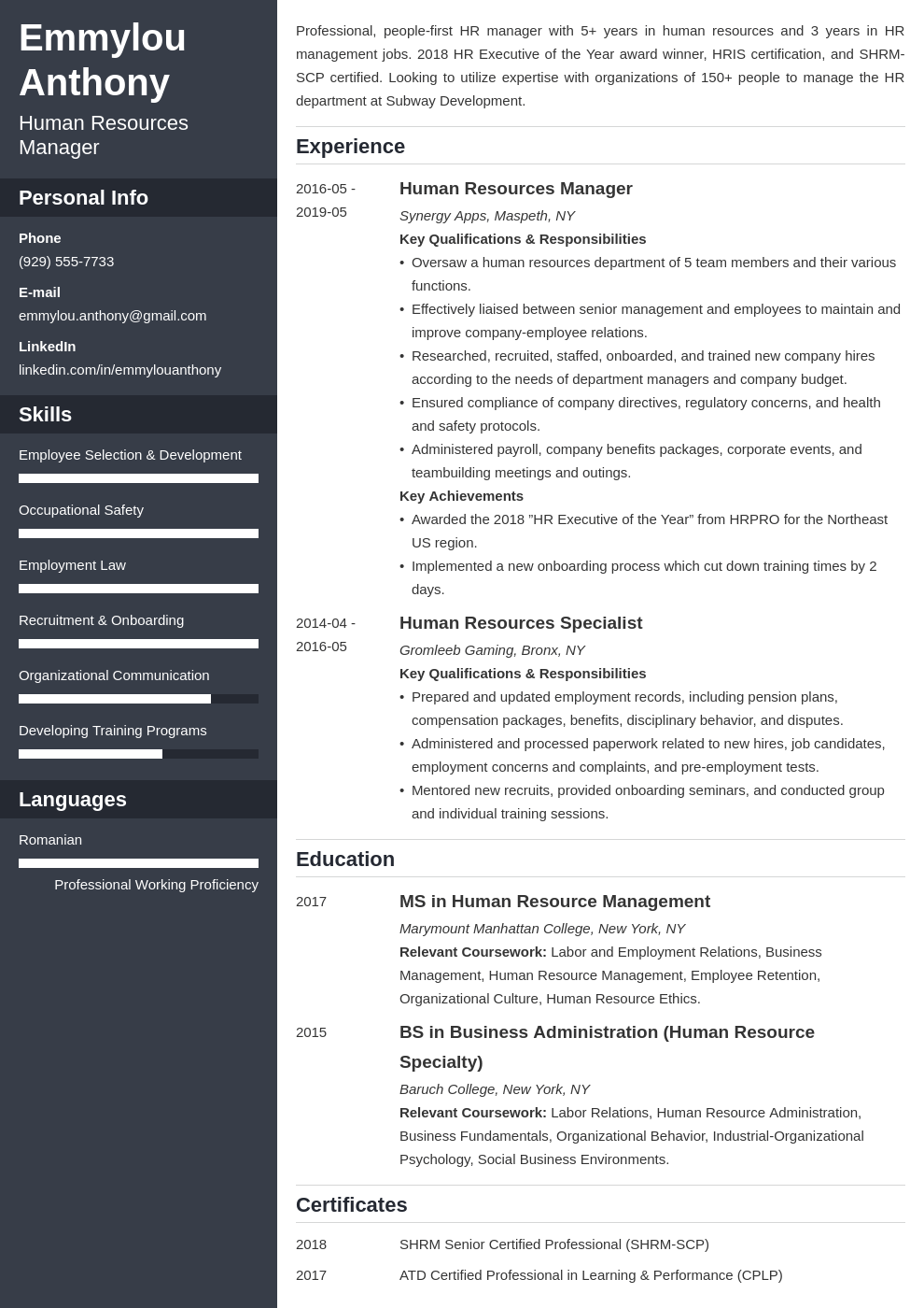 hr manager resume example template cascade