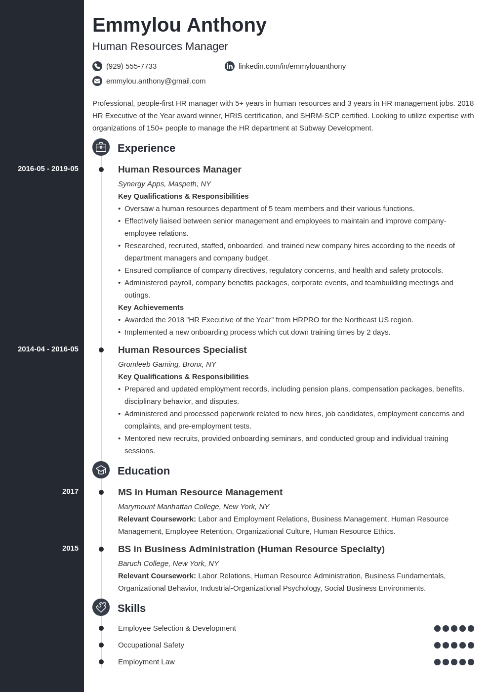hr manager resume example template concept